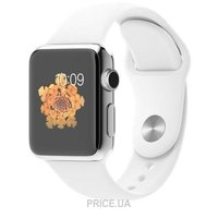 Фото Apple Watch 38mm Stainless Steel Case with White Sport Band (MJ302)