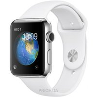 Фото Apple Watch Series 2 38mm Stainless Steel Case with White Sport Band (MNP42)