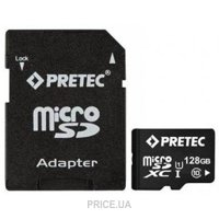 Фото Pretec 128 GB microSDXC Class 10 UHS-I + SD Adapter STSX128G-SA