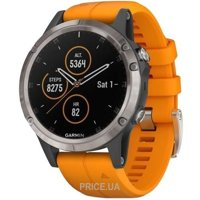 Фото Garmin Fenix 5 Plus Sapphire, Titanium with Solar Flare Orange Band (010-01988-05)