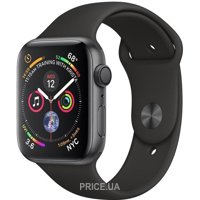 Фото Apple Watch Series 4 (GPS) 44mm Space Gray Aluminium Case with Black Sport Band (MU6D2)