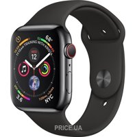 Фото Apple Watch Series 4 GPS + LTE 44mm Black Steel w. Black Sport b. Black Steel (MTV52)
